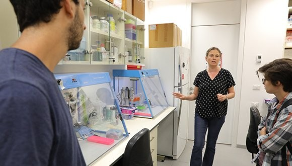 Prof. Dorothee Huchon in her lab at the Steinhardt Museum of Natural History